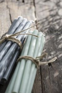 Taper candles dusty green 10 each
